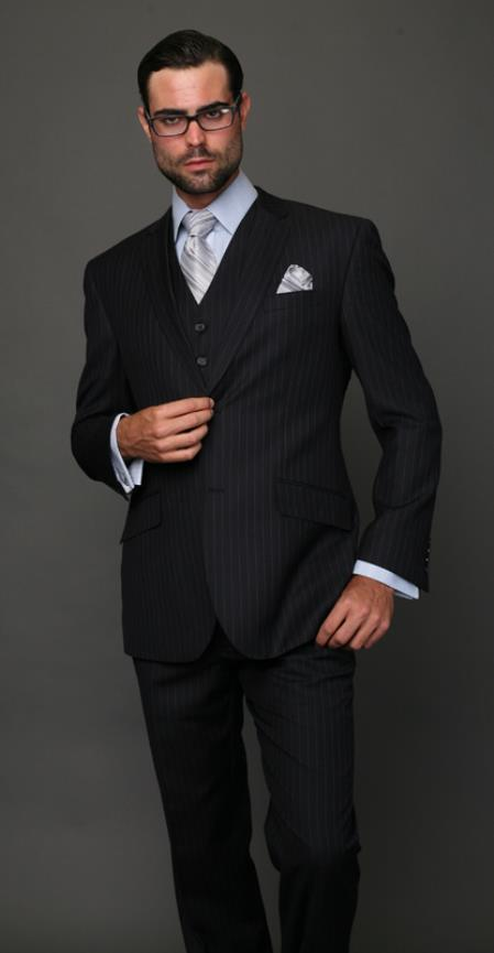 Mens Classic 2 Button Navy Pinstripe Three Piece Italian Fabric Suit