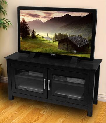 W44CFDBL 44 Black Wood TV Stand