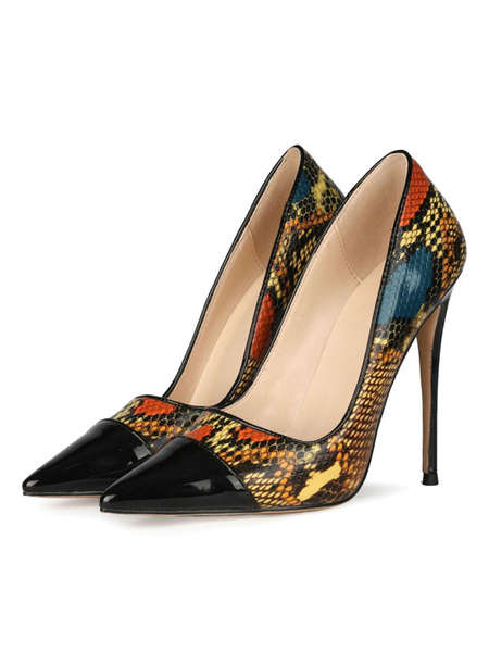 Milanoo Women High Heels Pointed Toe Stiletto Heel Black Snakeskin Print Color Block Patched Pumps