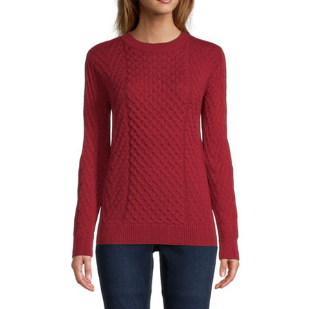St. John's Bay Womens Crew Neck Pullover Sweater, Medium , Red