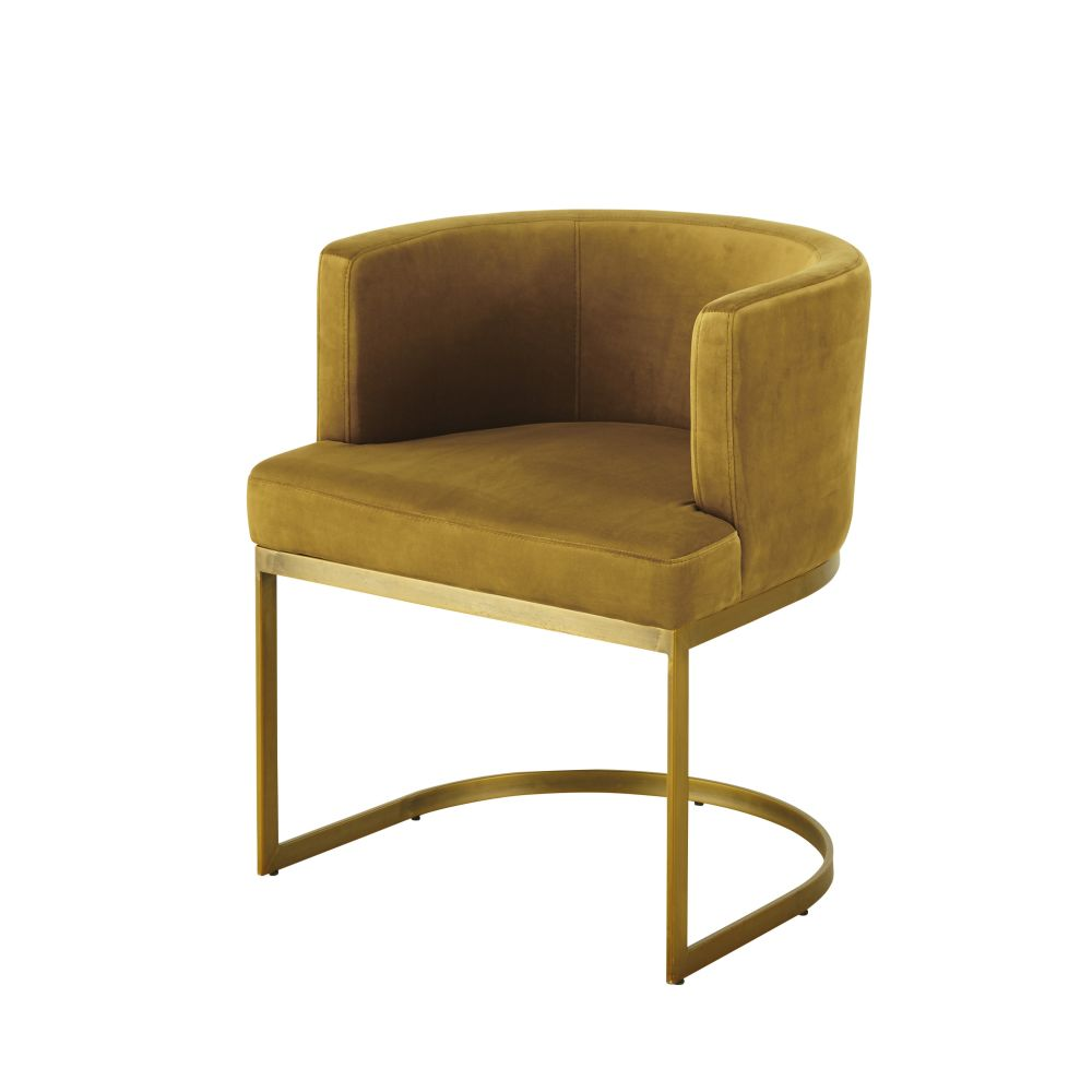 Vintage-Sessel mit Samtbezug, senfgelb Requiem