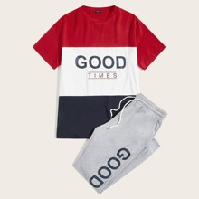 Men Slogan Graphic Tee and Heather Grey Sweatpants Set