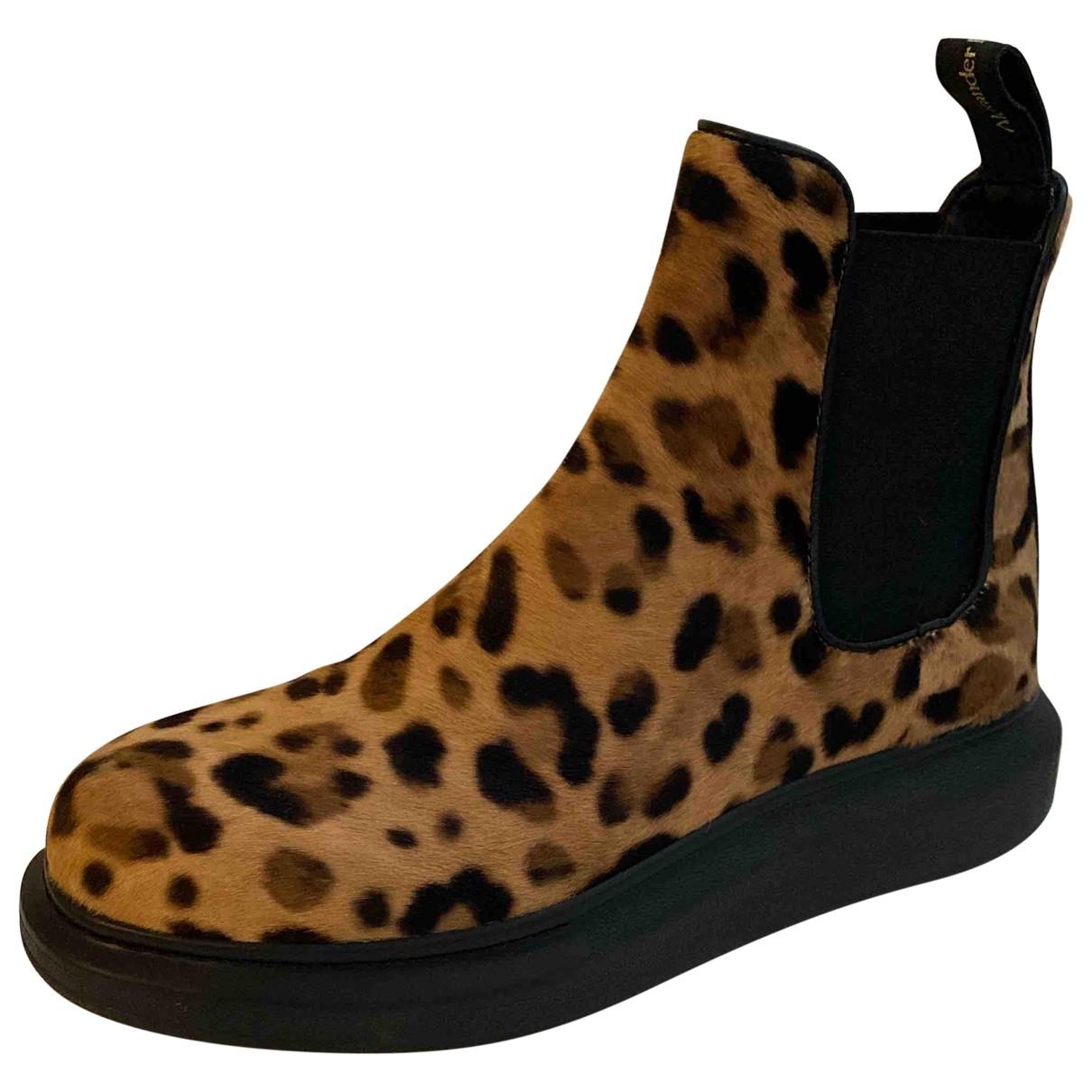 Alexander Mcqueen - Boots   pour femme en veau facon poulain - multicolore