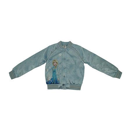 Disney Frozen Collection Little & Big Girls Varsity Jacket, 7/8 , Blue