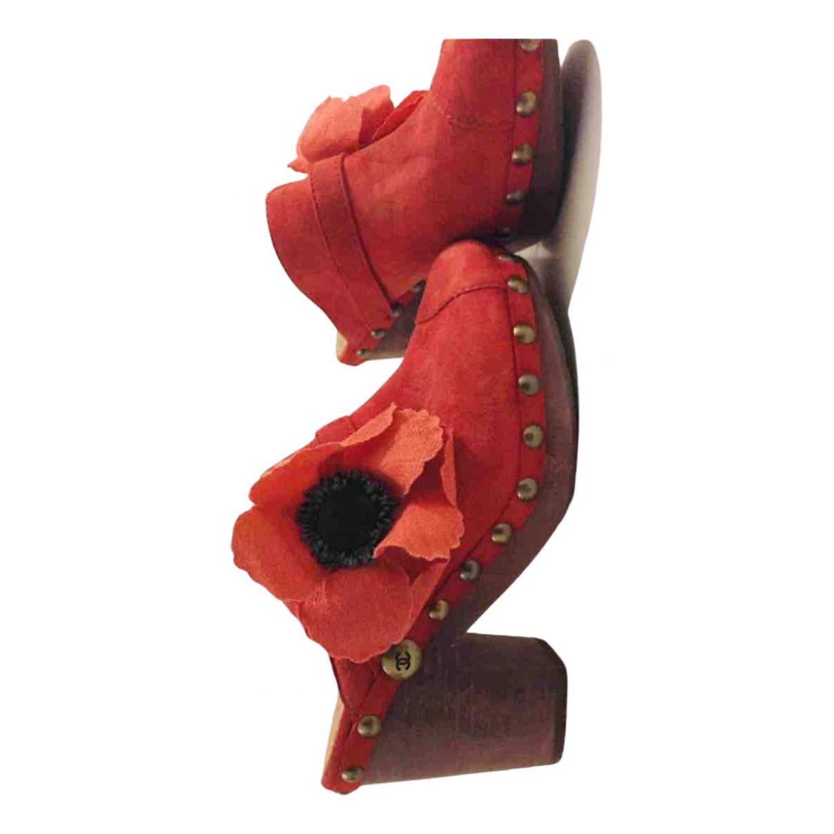 Chanel - Sabots   pour femme en suede - rouge