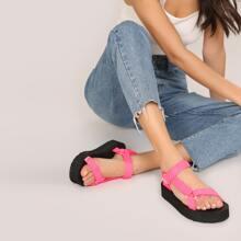 Neon Open Toe Twin Velcro Strap Platform Sandals