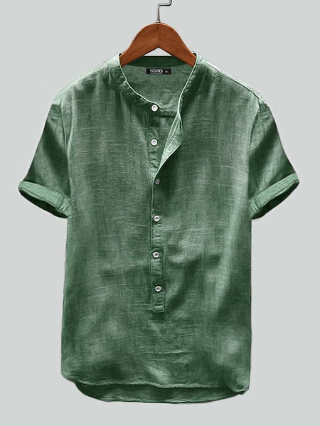 Yoins Men Casual Vintage Solid Color Stand Collar Short Sleeve Loose Shirt