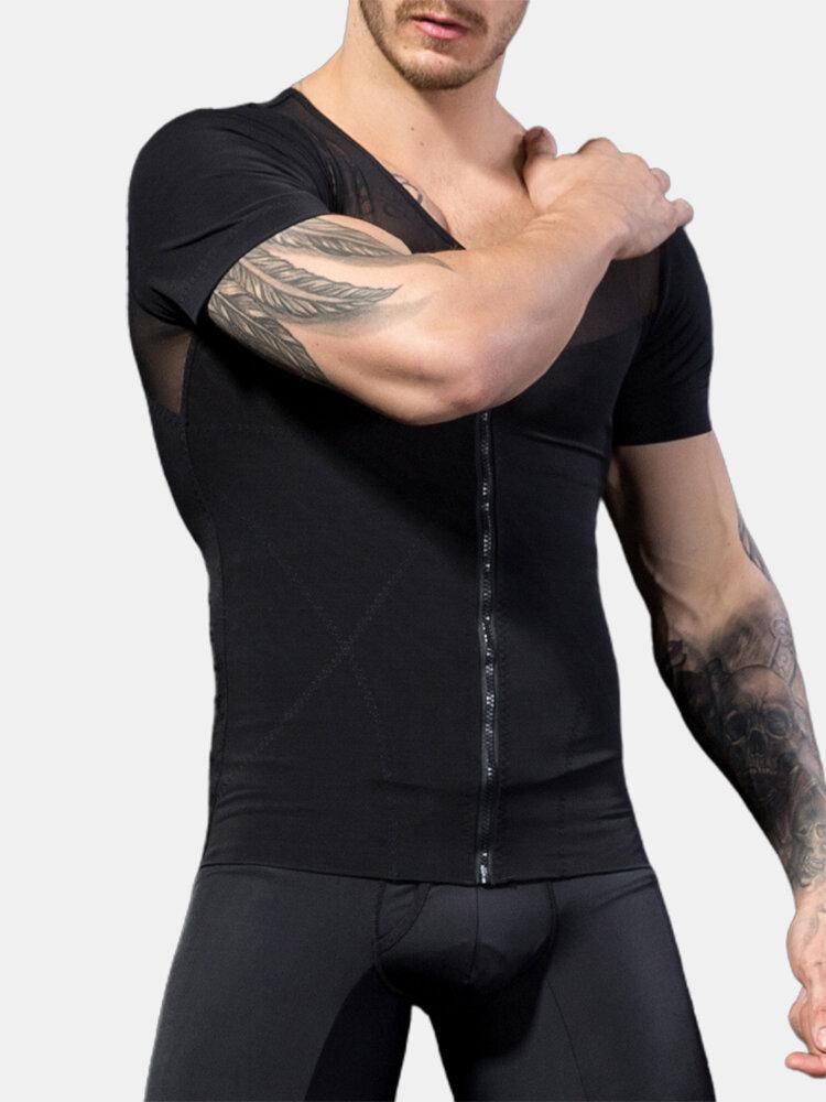 Plain Breathable Skinny Sports Bodybuilding Shapewear Short Sleeve Abdomen Control Zipper Undershirts