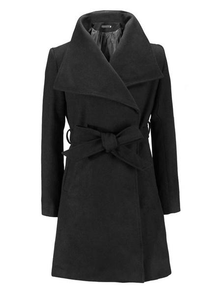 Milanoo Abrigo de abrigo de lana color caqui para mujer