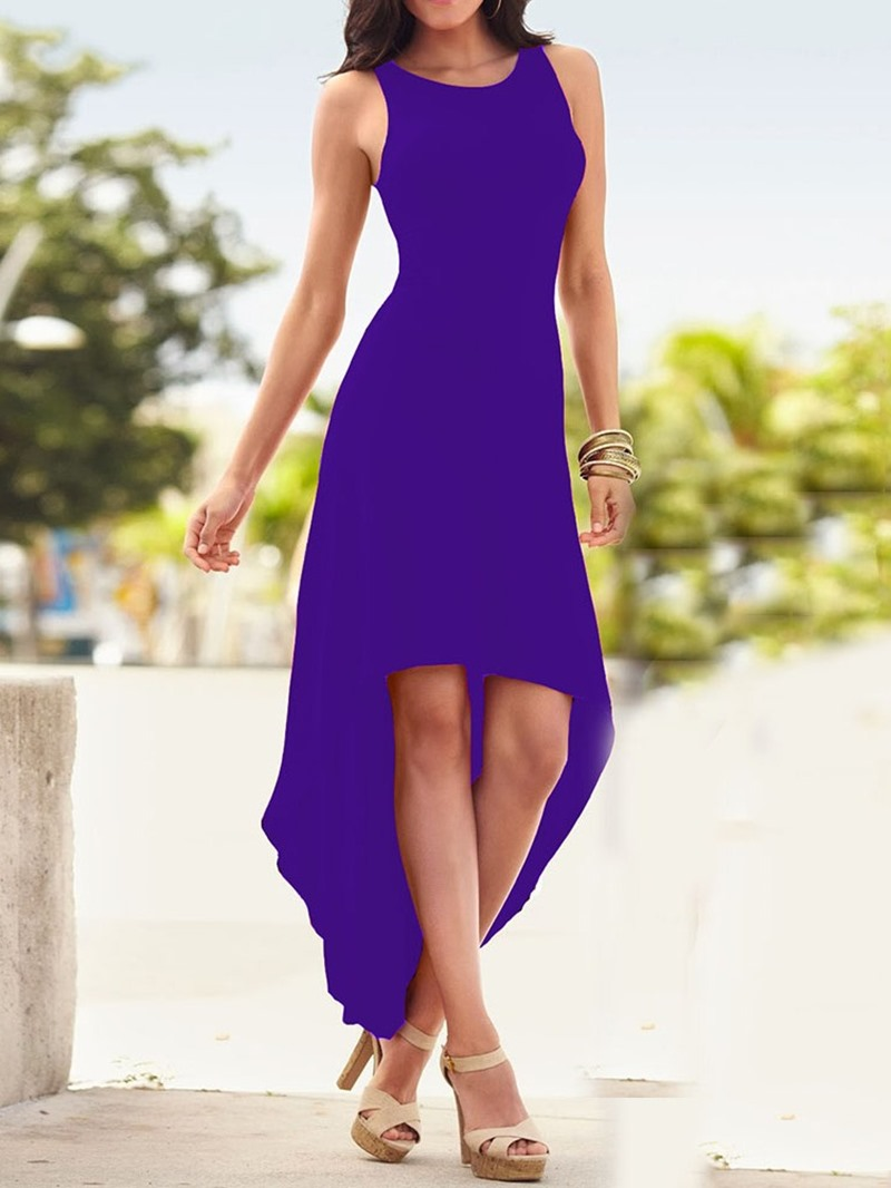 Ericdress Swallowtail Plain Round Neck Backless Ankle-Length Dress