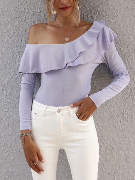 Milanoo Blouse For Women Purple One-Shoulder Ruffles Long Sleeves Tops