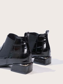 Textured Chunky Heeled Ankle Boots