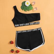 Girls Letter Tape One Shoulder Bikini Swimsuit