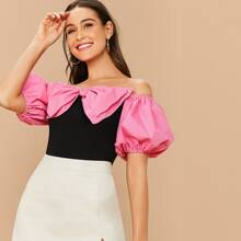 Off Shoulder Big Bow Front Puff Sleeve Top