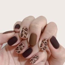 24 piezas uña postiza de leopardo con 1 hoja cinta