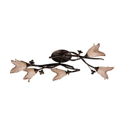 7956/5 5 Light Flush Mount in Aged Bronze and Hand Blown Tulip