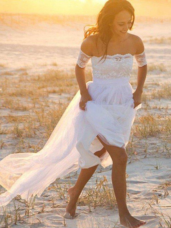 Sin mangas A-Line palabra de longitud vestidos de novia   fuera del hombro de encaje gasa