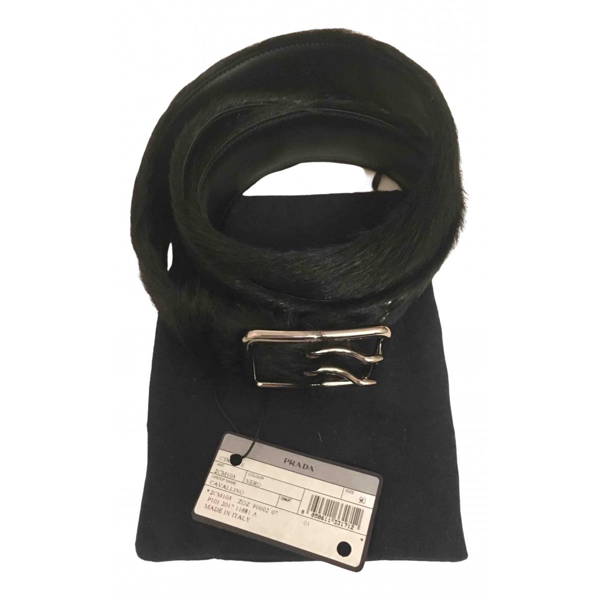 Prada - Ceinture   pour homme en cuir exotique - noir