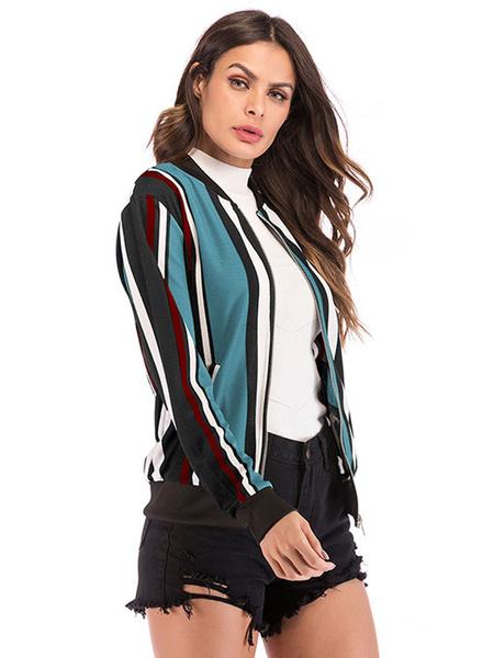 Milanoo Stripe Varsity Jacket Women Zip Up Cotton Long Sleeve Lightweight Stadium Jacket