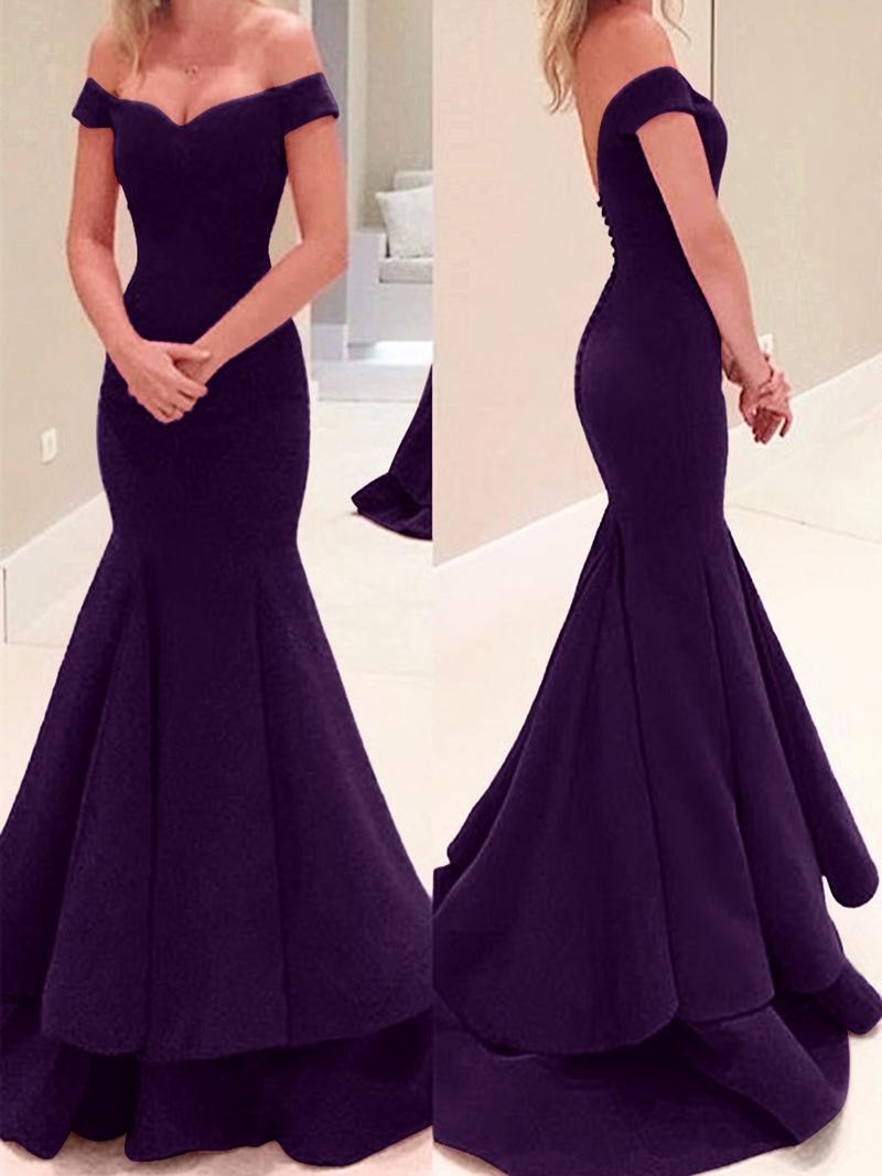 Ericdress Off The Shoulder Button Mermaid Evening Dress