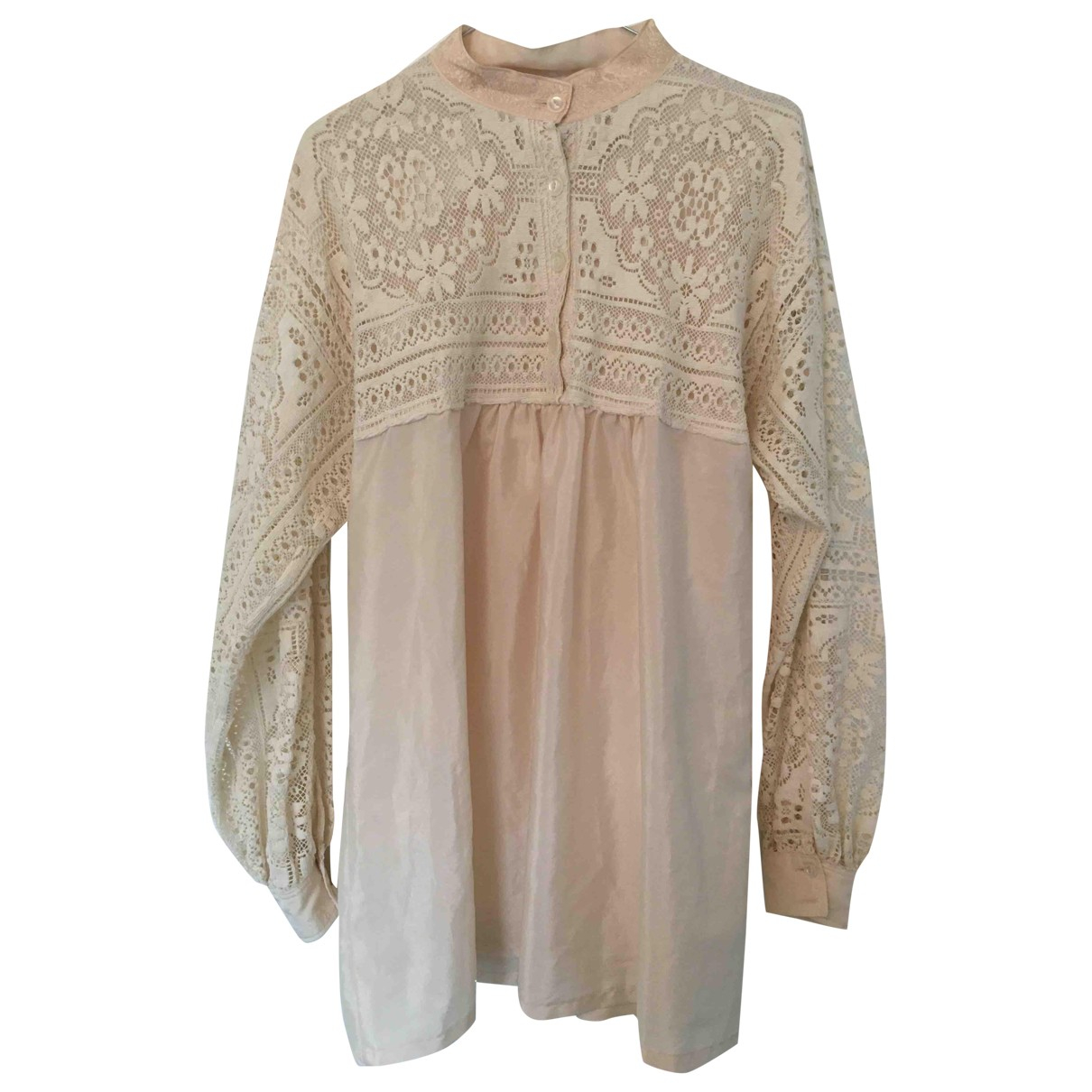 Non Signe / Unsigned Hippie Chic Kleid in  Weiss Synthetik