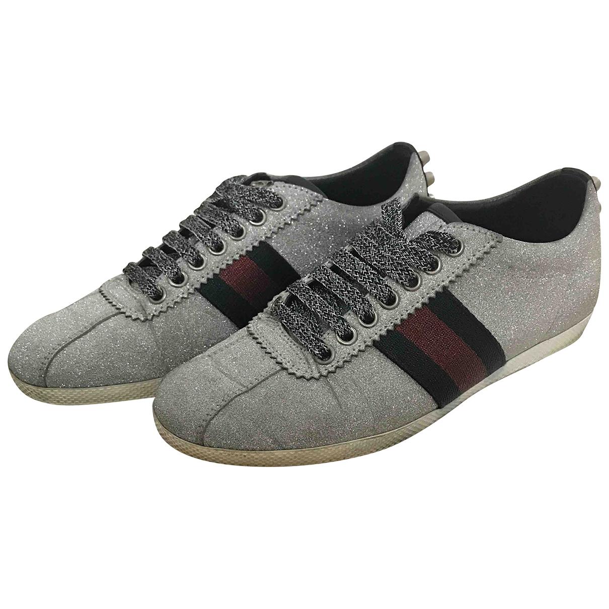 Gucci G74 Sneakers in  Silber Mit Pailletten