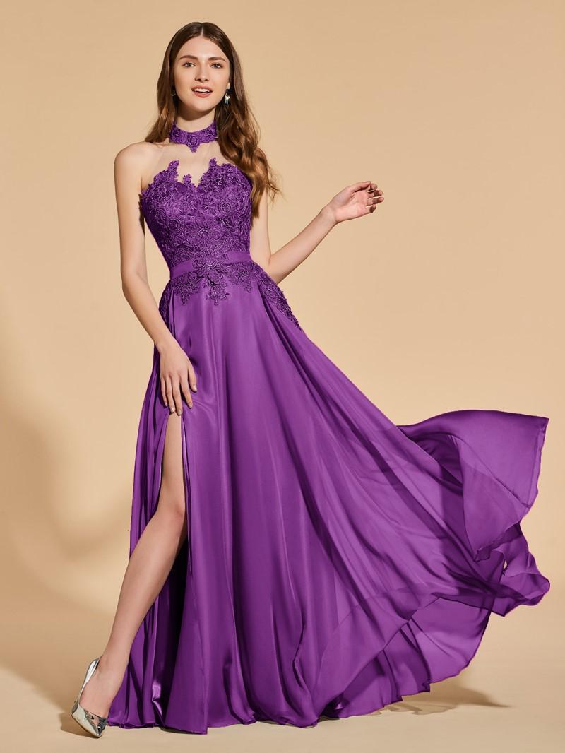 Ericdress Halter Split Front Appliques Prom Dress