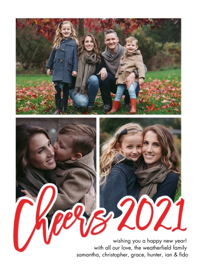 New Year's Photo Cards 5x7 Cards, Premium Cardstock 120lb with Elegant Corners, Card & Stationery -New Year 2021 Cheers Handlettered by Tumbalina