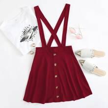 Button Front Suspender Skirt