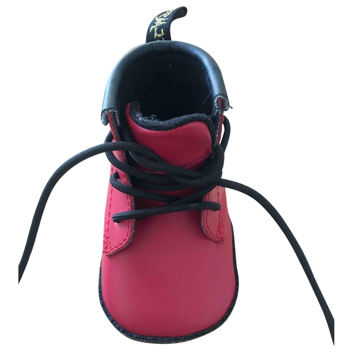 Dr. Martens - A lacets   pour enfant en cuir - rouge