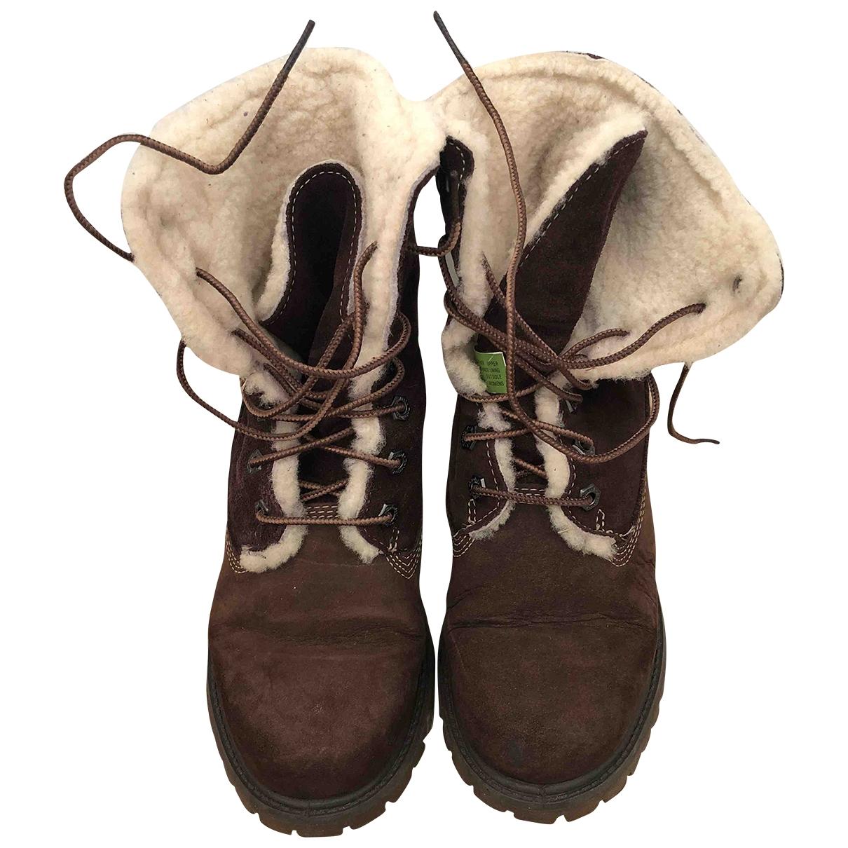 Timberland - Boots   pour femme en mouton - marron