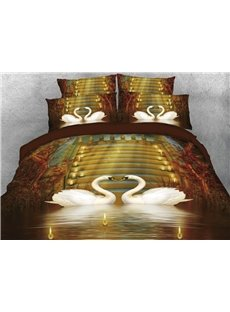 Vivilinen 3D Couple Swans in Love Candles Vintage 4-Piece Bedding Sets/Duvet Covers