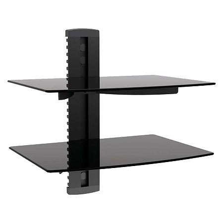 MegaMounts Tempered Glass Double Single Stud Shelf Wall Mount, One Size , Black