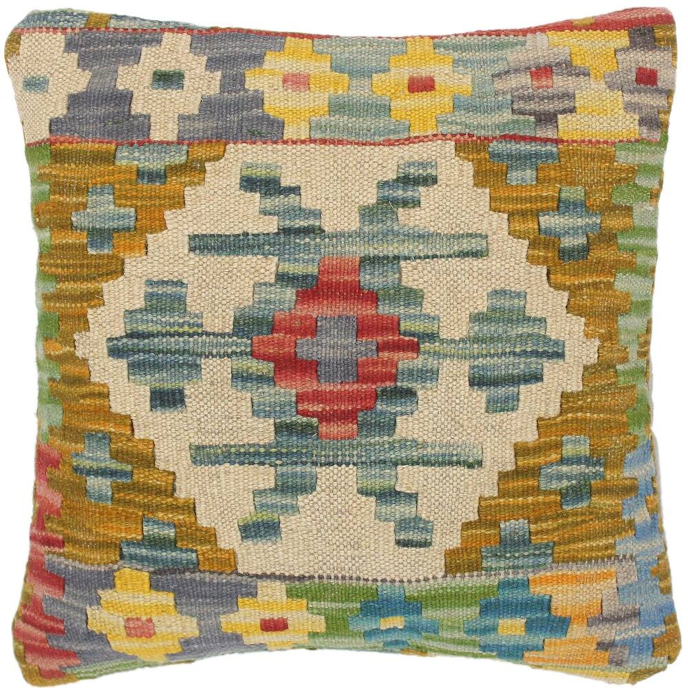 Southwestern Irina Hand-Woven Turkish Kilim Pillow 14 in. x 14 in. (Accent - 14 in. x 14 in. - Polyester - Beige - Single)