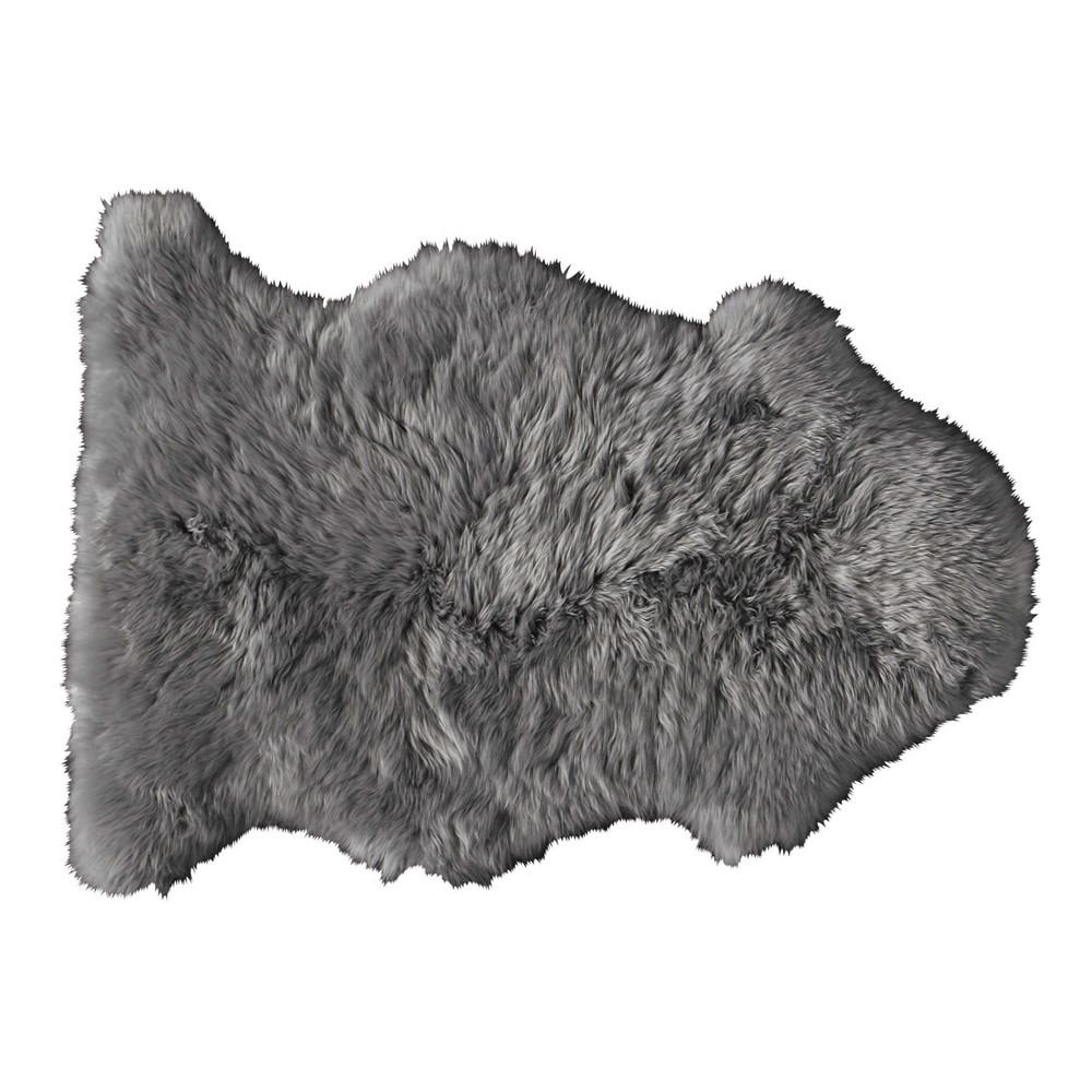 Teppich aus grauem Schaffell, 55x90