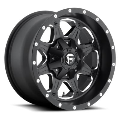 MHT Fuel Offroad Boost, 16x8 Wheel with 5 on 4.5 and 5 on 5 Bolt Pattern - Black Milled - D53416802645