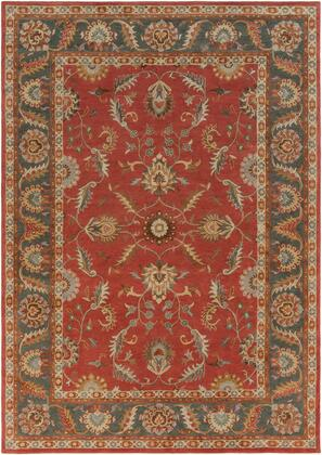 Caesar CAE-1007 10' x 14' Rectangle Traditional Rug in Rust  Charcoal  Mustard  Taupe  Dark Brown  Burnt