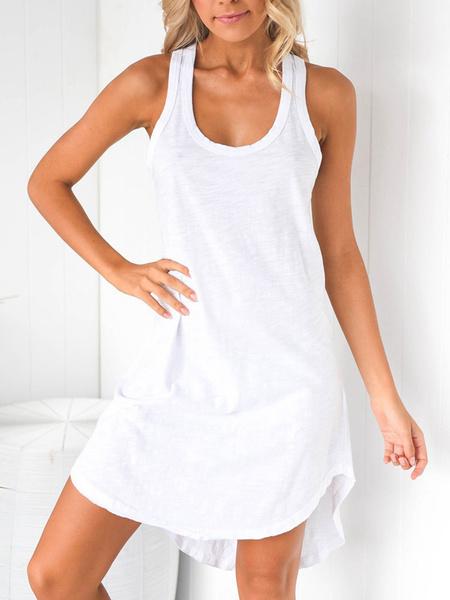 Milanoo Mezcla de verano vestido de cuello u vestido del algodon de la playa