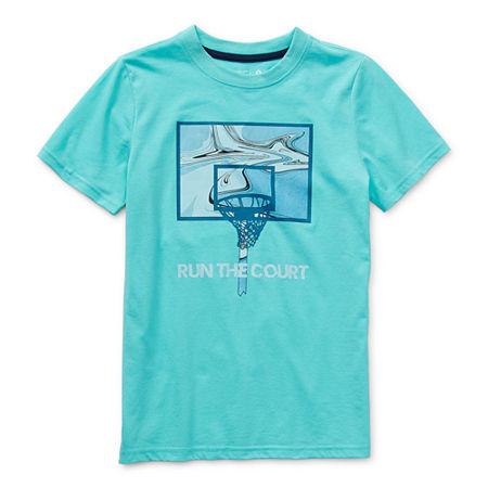 Xersion Little & Big Boys Crew Neck Short Sleeve Graphic T-Shirt, 18-20 Husky , Blue