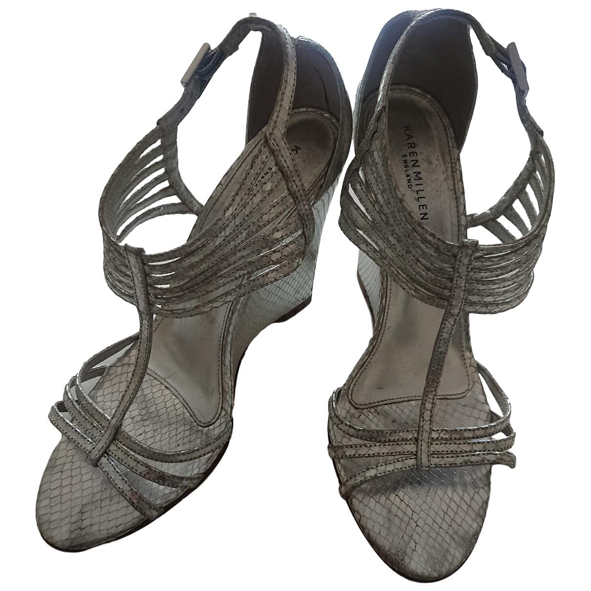 Karen Millen N Silver Leather Sandals for Women 40 EU