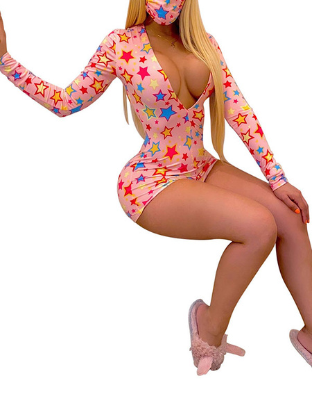 Milanoo Sexy Romper Shorts Long Sleeves V Neck Skinny Summer Playsuit