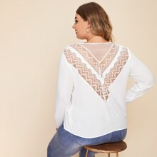 Plus Lace and Mesh Insert Top