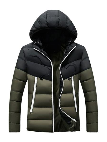 Milanoo Abrigo con capucha al aire libre Parka para hombre con bolsillos para el invierno