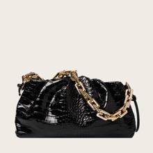 Tasche mit Kette und Krokodil Praegung