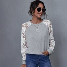 Guipure Lace Raglan Sleeve Sweatshirt