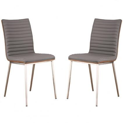 Cafe Collection LCCACHGRB201 Set of 2 Dining Chairs with Walnut Veneer Back  Polyurethane Cushion  Brushed Stainless Steel Frame  Tapered Legs and