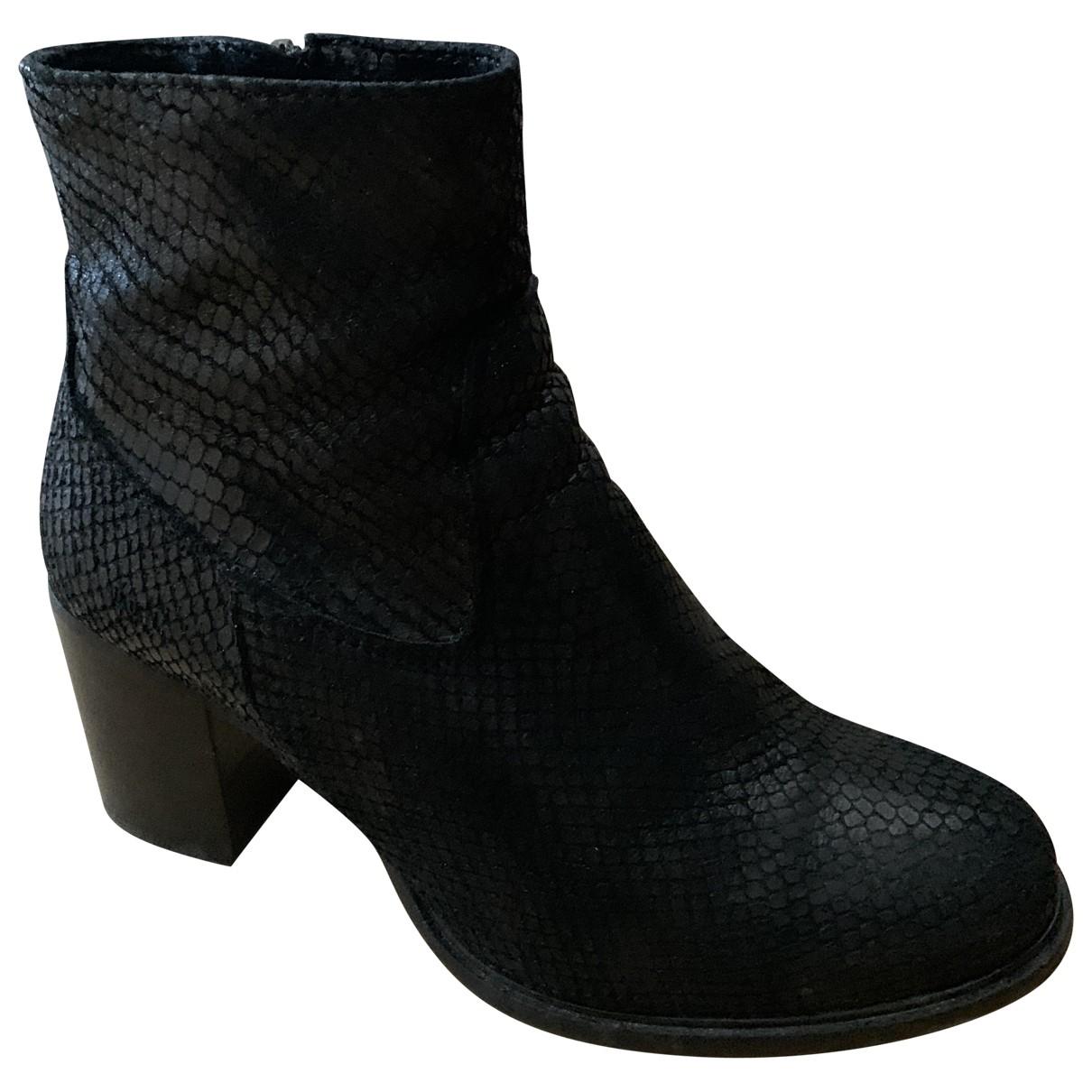 Ann Tuil - Boots   pour femme en cuir - noir