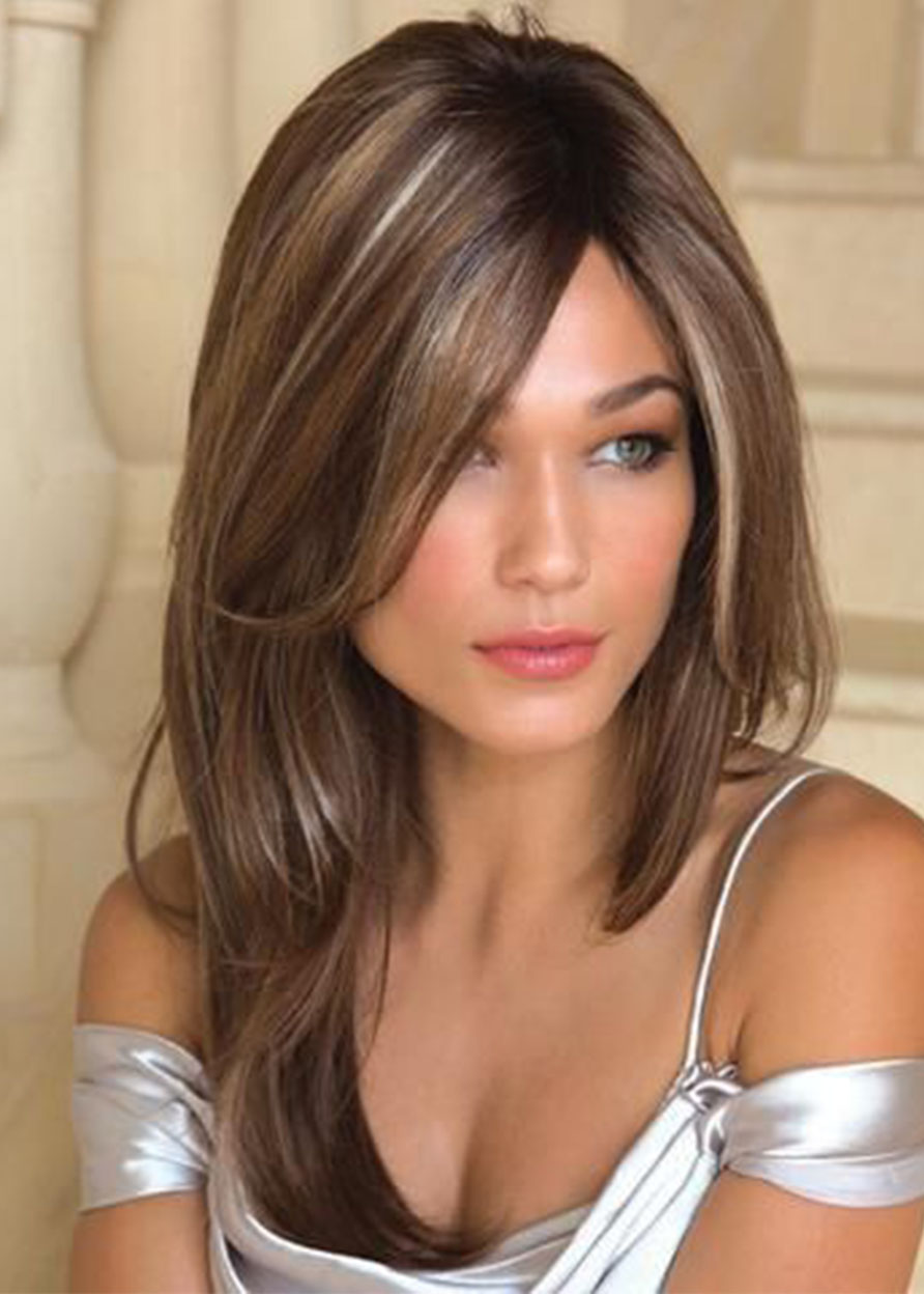 Capless Natural Straight Synthetic Hair 24 Inches 120% Wigs Heat Resistant Natural Looking Daily Party Wigs Cosplay Wigs with Natural Bangs with Free