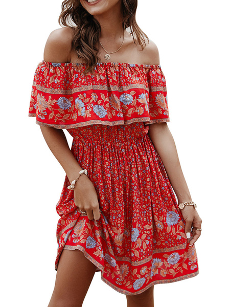 Milanoo Red Boho Dress Off-The-Shoulder Short Sleeves Printed Beach Dress