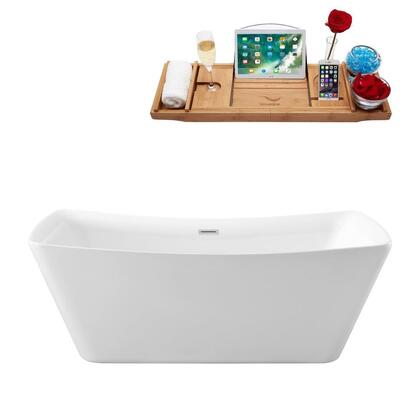 N-541-67FSWH-FM 67 Soaking Freestanding Tub and Tray With Internal Drain in